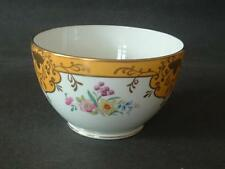 """OLD ROYAL CHINA"" large sugar bowl - floral design and bold yellow gilt pattern"