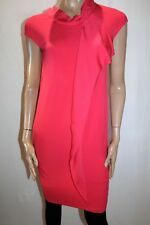 Max Mara Designer Coral Sleeveless Frill Front Shift Dress Size 10-12 BNWT #TP31