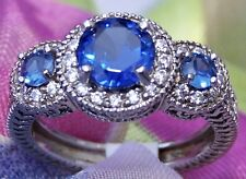 Vintage Style 925 Sterling Silver 3 Stone Clear Blue Sapphire CZ Stunning Ring