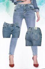 Jeans donna ragazza taglie comode elasticizzato vita medio-alta FARFALLINA
