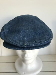 Vintage 70 Denim Newsboy Cap Small 6 3/4- 6 7/8 Union cabbie USA Blue Jean