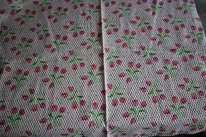 vintage plisse material bright PINK TULIP floral spray pattern 60x112cm