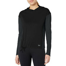 Under Armour UA Threadborne Hooded Black Siro Ladies Long Sleeved Running Top XS