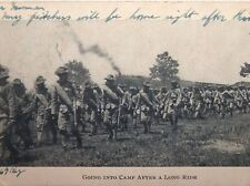 ANTIQUE PINE CAMP N.Y. 1910 POSTCARD 69TH REG. GOING INTO CAMP AFTER A LONG RIDE