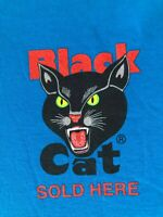 Black Cat Fireworks Sold Here STAFF Yellow Men's Small T Shirt