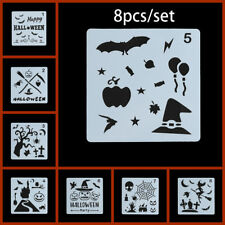 8Pcs/Set DIY Halloween Layering Painting Stencils Embossing Paper Card Template