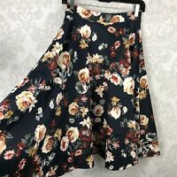 Amelia James Black Fall Floral A Line Skirt M