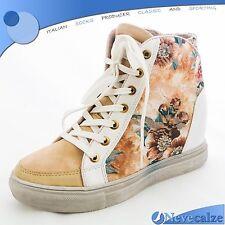 Scarpe donna sneakers ginnastica sportive con zeppa interna fiori pizzo DSSCA002