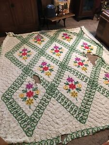 "Vintage Chenille Bedspread App. 100"" x 90"" Floral Diamond Design  CRAFTS PIECE"