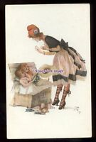 gla0109 - Young Woman & Children plays Dressing Up, Artist - Jean Jam - postcard