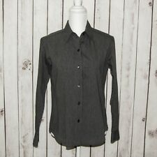 Agnes B. Women's Button Front Shirt Long Sleeve Gray Striped Size 1
