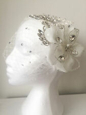 CLARA Birdcage Veil Bandeau Rhinestone Blusher Wedding Fascinator Net Lace