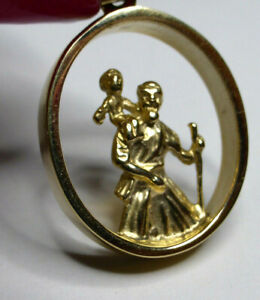 sterling silver oval 3D St Christopher pendant