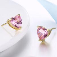 18K White Gold Plated Pink Clear CZ Heart Screw Back Baby Girl Earrings Infants