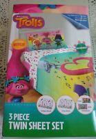 NEW Trolls Skip The Beat Kids 3 Piece Twin Bed Size Bedding Sheet Set