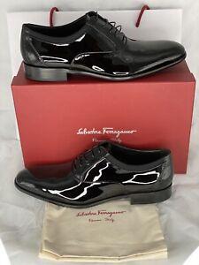 Authentic Salvatore Ferragamo Aiden Black Patent Leather Oxfords Size 11 NWB!!!