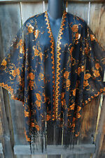 ART TO WEAR GLAM SEQUIN EMBROIDERED SHORT KIMONO JACKET IN ORANGE ON BLACK, OS+!