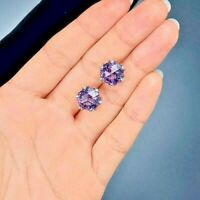 2.70Ct Round Cut Amethyst Diamond Solitaire Stud Earrings 14K White Gold Finish
