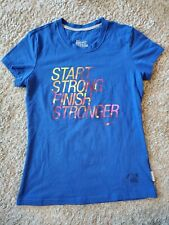 "Nike Dri-Fit Cotton Tee ""Start Strong Finish Stronger"" - Blue - Medium"