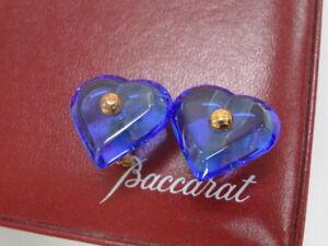 Baccarat Accessory Clip On Earrings Heart Motif Blue Gold K18 750 13180102300 K