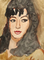 Original vintage watercolor painting impressionist woman portrait
