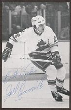 JOEL QUENNEVILLE AUTOGRAPHED 70'S COLORADO ROCKIES TEAM ISSUE NHL HOCKEY PHOTO