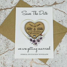 Personalised Floral Oak Wedding Save The Date Heart Fridge Magnet Card Invites