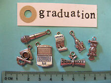 7 tibetan silver graduation charms mortar board hat certificate wise owl diploma