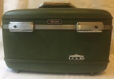 "Vintage American Tourister Tiara Train Makeup Case Avocado Green Hard Shell 14"""