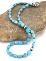 "Natural Nacozari Navajo Sterling Silver Blue Turquoise Nugget Necklace 19"" 1316"