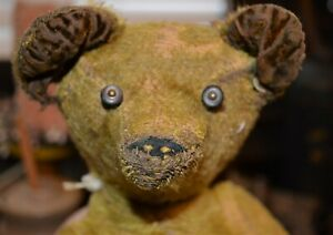 Very Early Antique Straw Stuffed Mohair Teddy Jointed Bear Button Eyes Cir: 1900