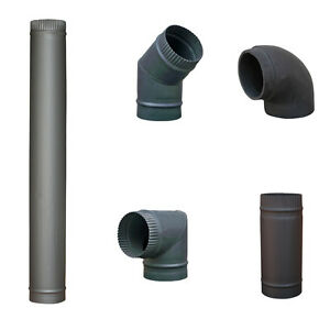 "5"" 6"" Matt Black Chimney Flue Pipe For Wood Log Burning Multifuel Stove"