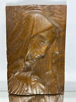 VTG. Hand Carved Wood Folk Art Primitive Wall Sculpture Mother Mary