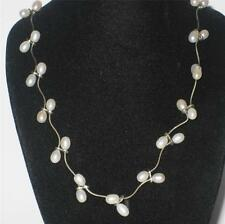 "STUNNING LADIES STERLING SILVER PEARL 925 FINE NECKLACE CHOKER 16"" JEWELLERY"