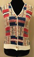 Original Russ Sport Company Womens Vest Petite Large Ivory Geometric Vintage
