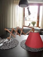 Vintage mid century danish design Wandlampe Scherenlampe Teak mit Halterung 60s