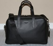 💚 COACH Mens Metropolitan Black Leather Carryall Briefcase Weekender Travel Bag