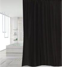 Clearance Plain Black Fabric Shower Curtain 2m Long Plus Black Rings