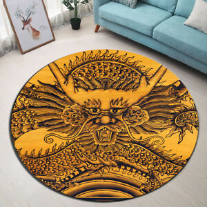 China Dragon Sculpture Non-slip Round Area Rug Room Yoga Carpet Floor Beach Mat