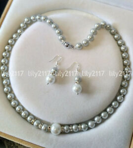 8-12mm Light gray South Sea Shell Pearl Round beads necklace Earrings set