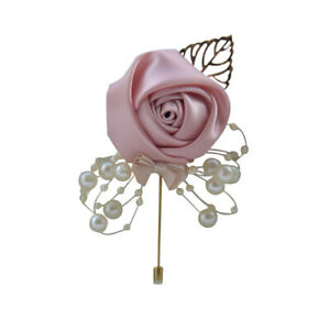 Bridal Groom Bride Boutonniere Artificial Corsage Flower Brooch Rose Cloth Hot a