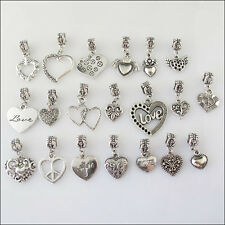 20Pcs Mixed Tibetan Silver Heart Dangle Charms Beads fit European Bracelets F203