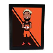 More details for odel beckham jnr american football vector hero framed print unofficial
