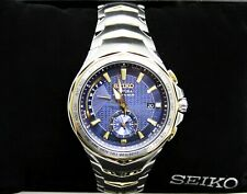 Seiko Men's Coutura Radio Sync Solar Watch in Two-Tone Silver & Gold #SSG020