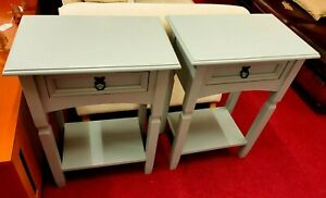 2 x Matching Painted Grey Side Tables (2349)  **Offer Price**