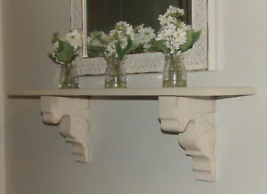 """2pc Set Rustic Wood Corbels Distressed White 9"""" Corbels Brackets Wall Shelves"""