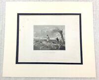 1843 Antico Stampa Wild Fowl Tiro Paese Attività SPORTS Caccia Incisione