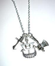 Vikingos-Viking Barco, Guerra De Hacha Y Espada Collar de encanto