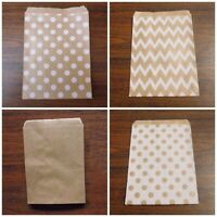 25 Pcs Kraft Paper Bags Flat Brown Merchandise Party Gift Candy Jewelry qz#