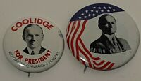 CALVIN COOLIDGE For President Pinback Political Pins Lot Of 2 (Replicas)